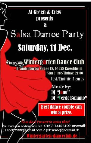 salsa party in r sselsheim am 11 dezember 2010 im. Black Bedroom Furniture Sets. Home Design Ideas