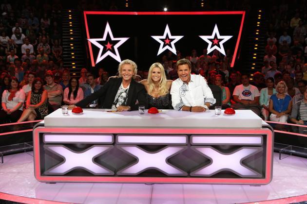 Das Supertalent 2013 beginnt mit offenen Castings - hier die Jury aus dem letzten Jahr: Thomas Gottschalk, Michelle Hunziker und Dieter Bohlen - Foto: (c) RTL / Andreas Friese