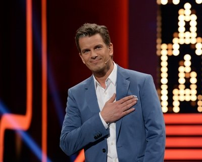 """Markus Lanz bei !Wetten dass..?"""" am 5. April 2014 - Foto: ZDF und Patrick Seeger"""