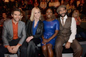 Christian Polanc, Isabel Edvardsson, Nikeata Thompson und Massimo Sinato auf der MB Fashion Week Berlin Januar 2015