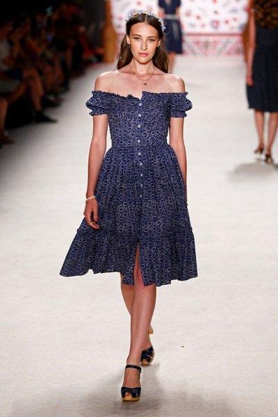 blaues sommerkleid 2016 lena hoschek fashion week berlin juli 2015 02. Black Bedroom Furniture Sets. Home Design Ideas
