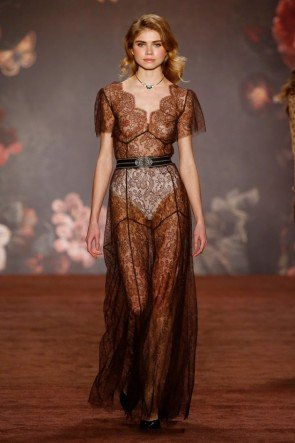 Lena Hoschek transparentes Abendkleid Herbst-Winter-Mode 2016-2017 Berlin Fashion Week Januar 2016 - 20