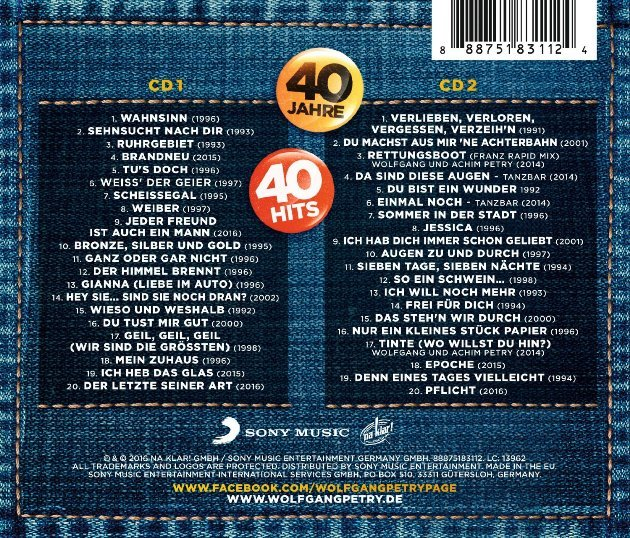 Titel-Liste Wolfgang Petry neue CD 40 Jahre - 40 Hits