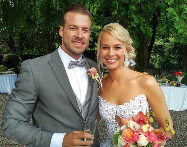 Linda Fäh Hochzeit Foto mit Ehemann Marco