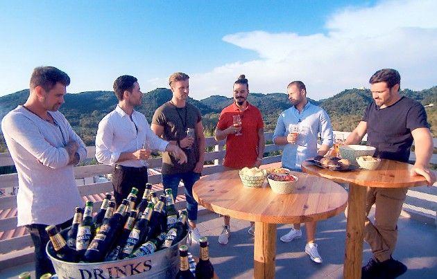 Brian, Tobi, Alex, Dave, Kevin, Stefan bei der Bachelorette am 8.8.2018