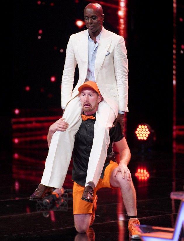 Wacky Chad Ian Deitz mit Bruce Darnell beim Supertalent am 15.9.2018