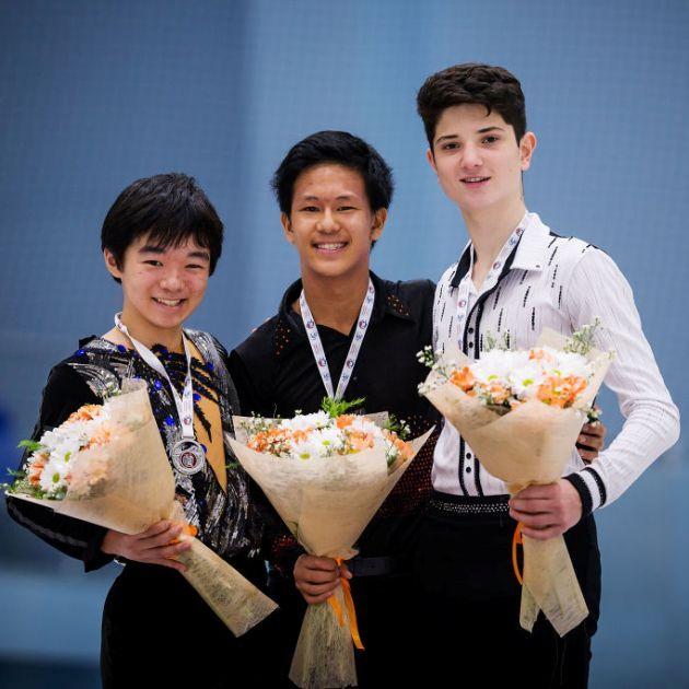 Yuma Kagiyama, Adam Siao Him Fa, Iliya Kovler - Siegerehrung Junior Grand Prix Jerewan 2018