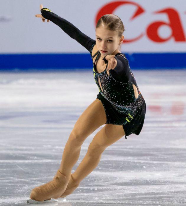 Alexandra Trusova 2018 im Kurzprogramm Finale Junior Grand Prix in Kanada