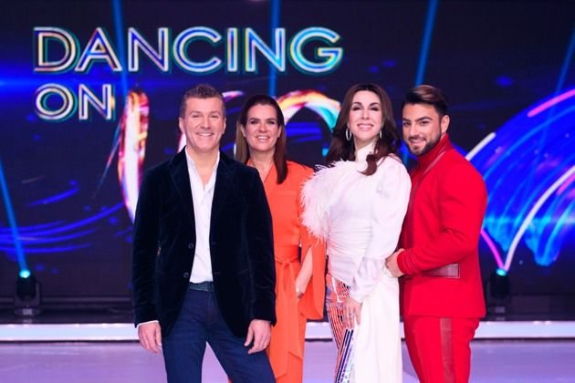 Dancing on Ice am 6.1.2019 - die Jury mit v.r.n.l. Cale Kalay, Judith Williams, Katarina Witt und Daniel Weiss