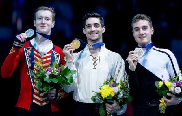 Eiskunstlauf EM 2019 Siegerehrung Herren - im Bild Alexander Samarin, Javier Fernandez und Matteo Rizzo