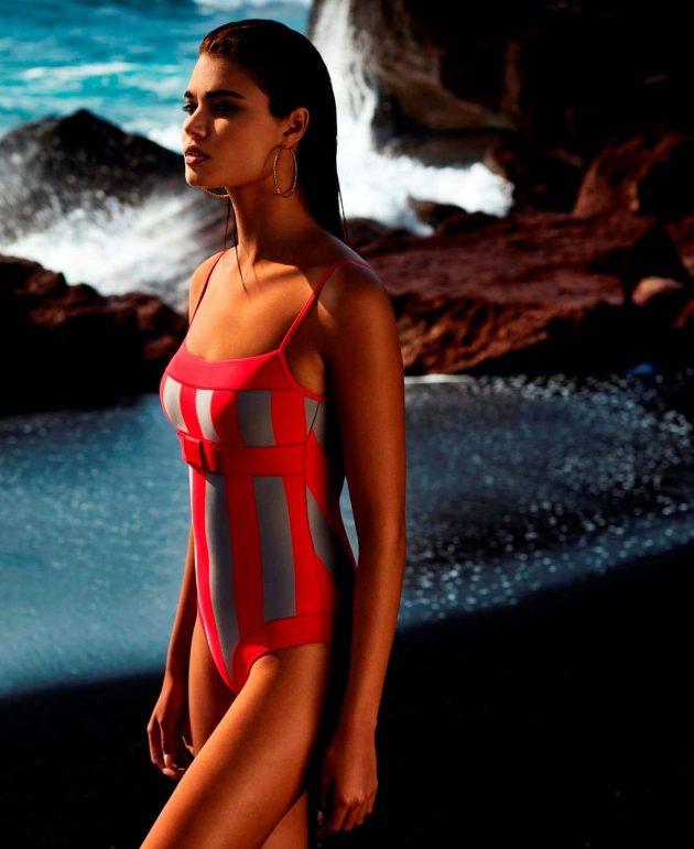 Badeanzug 2019 Andres Sarda, Modell Azura, Farbe Rot-Steingrau gestreift