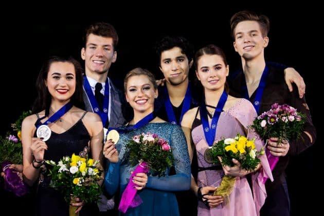Eistanz-Siegerehrung Junioren-WM Eiskunstlauf 2019