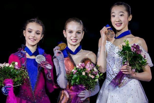 Siegerehrung Eiskunstlauf Damen Junioren-WM 2019