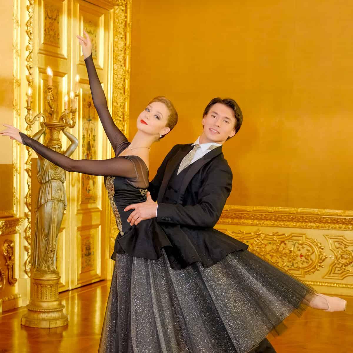 Madison Young und Robert Gabdullin als Tänzer beim Ballet zum Neujahrskonzert 2020 der Wiener Philharmoniker