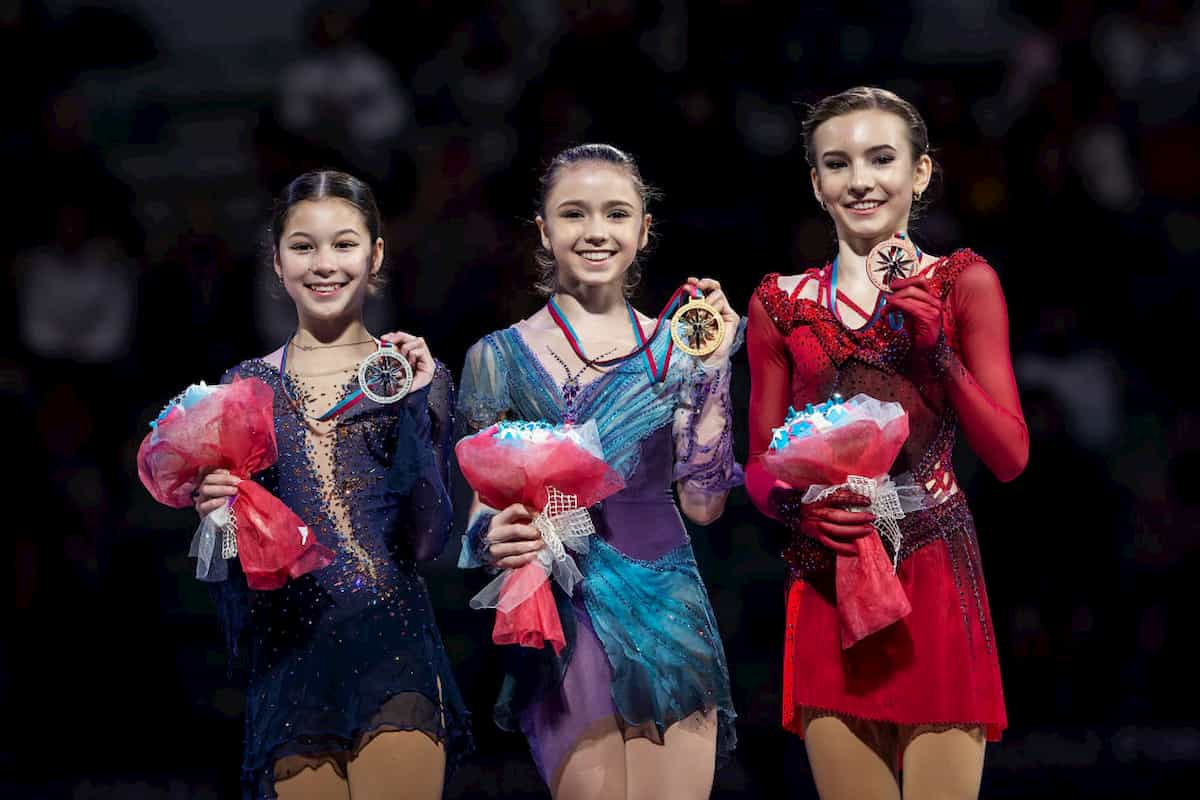 Siegerehrung Eiskunstlauf-Damen Junior Grand Prix Finale 2019 - Alysa Liu, Kamila Valieva, Daria Usacheva