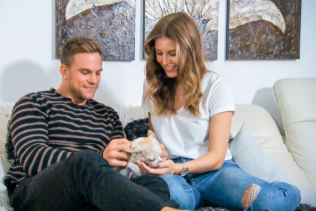 Sebastian, Hund und Wioleta beim Home-Date Bachelor am 19.2.2020