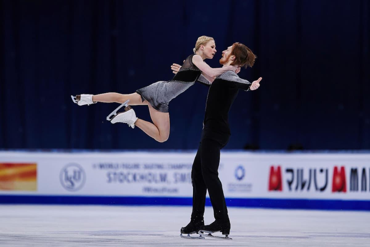Evgenia Tarasova - Vladimir Morozov aus Russland - Platz 4 bei der Eiskunstlauf-WM 2021
