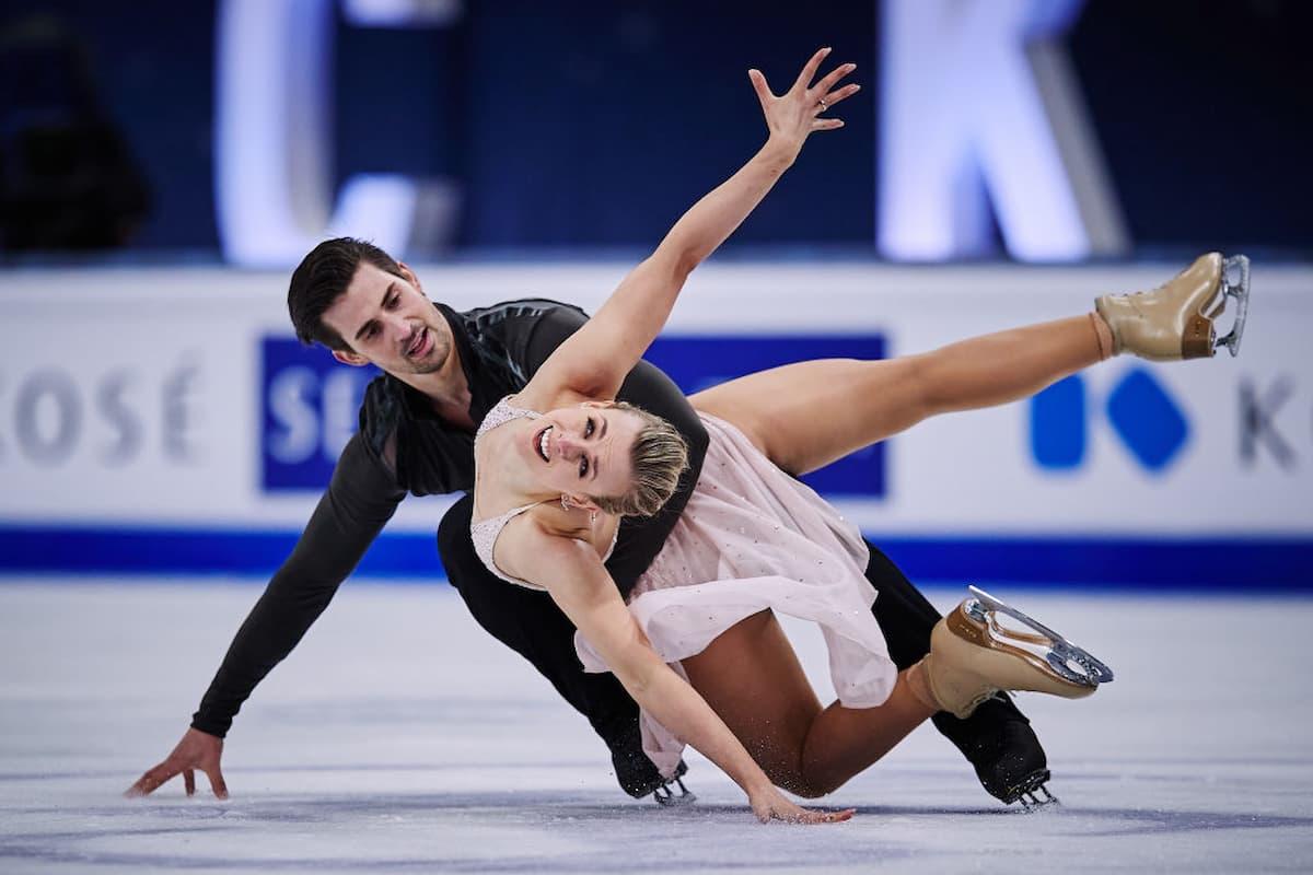 Platz 2 bei den Eistanz-Paaren zur WM 2021 für Madison Hubbel - Zachary Donohue aus den USA