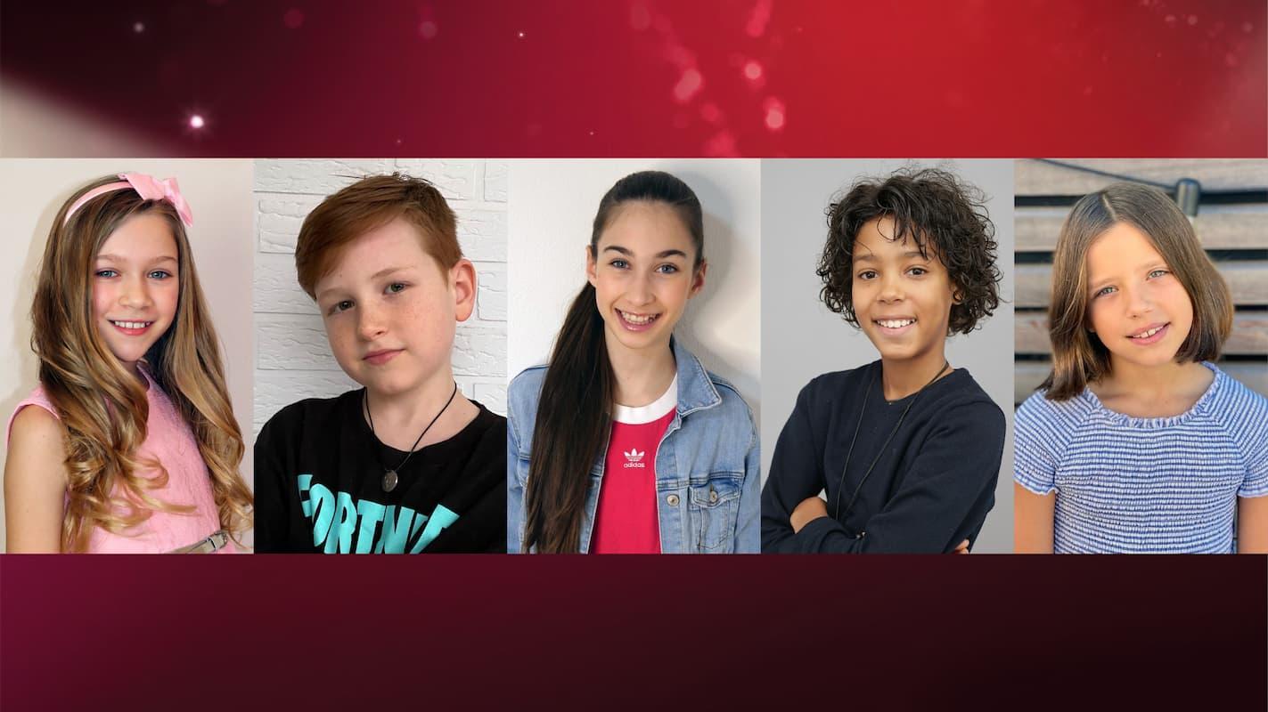 Teilnehmer Let's Dance -Kids 2021 - im Bild Jona Szewczenko, Maris Ohneck, Angelina Stecher-Williams, Spencer König, Zoe Baillieu