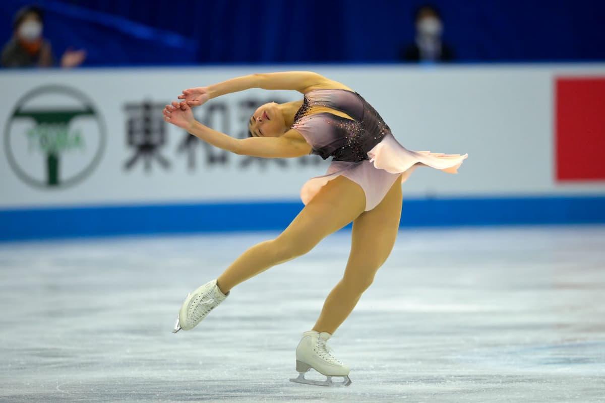 Kaori Sakamoto Platz 3 bei der World Team Trophy 2021 in Osaka nach dem Kurzprogramm der Damen