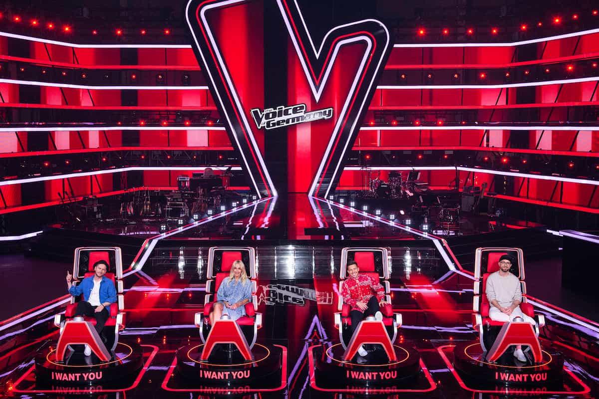 The Voice of Germany 2021 - Wer sind die Coaches bei TVoG 2021? - hier im Bild Johannes Oerding, Sarah Connor, Nico Santos und Mark Forster