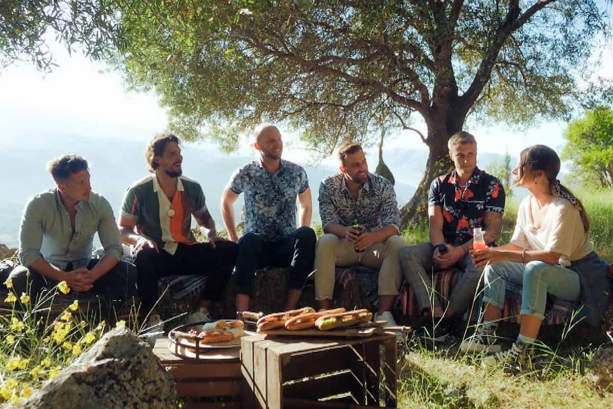 Folge 2 Bachelorette am 21.7.2021 - Gruppen-Date mit Tony, Zico, Hendrik, Robert, Niko und Maxime