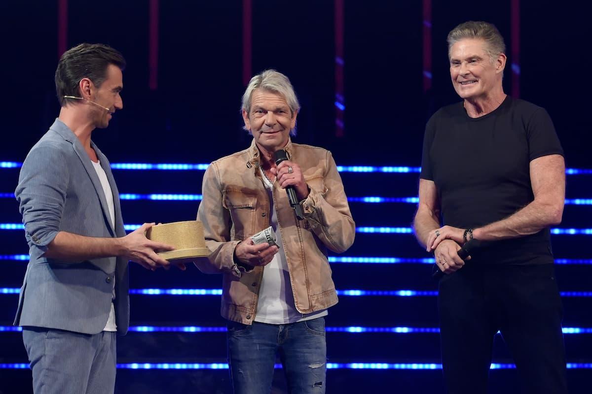 Florian Silbereseisen mit Matthias Reim und David Hasselhof bei der Schlager-Challenge am 4.9.2021