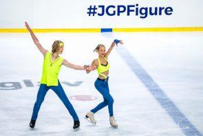 Eiskunstlauf ISU Junior Grand Prix 7.-9.10.2021 in Linz Zeitplan, Ergebnisse, Übertragungen - hier im Bild Myroslava Tkachenko - Andrii Kapran aus der Ukraine